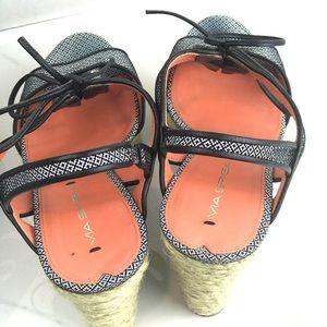 Via Spiga Shoes - Via Spiga Wedge Black and White w/ Draw String